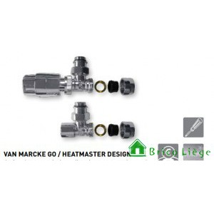 Design thermostatische radiatorkraanset, verchroomd  - HEATMASTER DESIGN